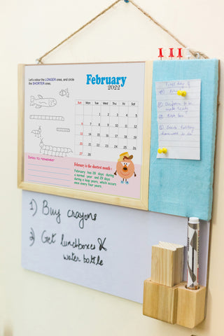 IVEI Kids Activity Calendar with Whiteboard and Pin Board - Blue