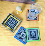Hand-Painted Warli Art Coasters by Charu