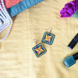 Hand-Painted Phulkari Earrings by Charu