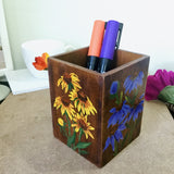 Hand-Painted Floral Stationery Holder by Charu