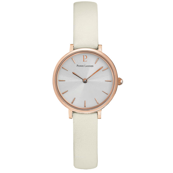 Pierre Lannier Nova Rose Gold/White Leather 014J920