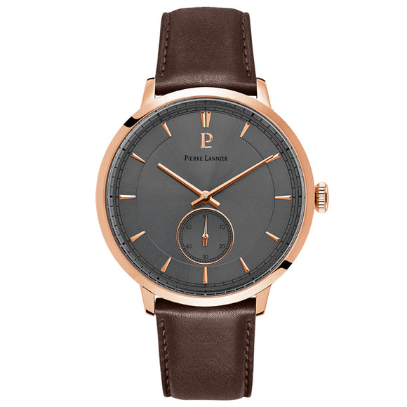Pierre Lannier Allure Men's Rose Gold Grey/Brown Leather 242C484