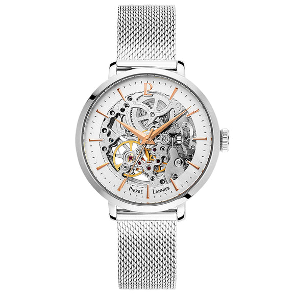 Pierre Lannier Automatic Skeleton Womens Silver White/Silver Mesh 308F628