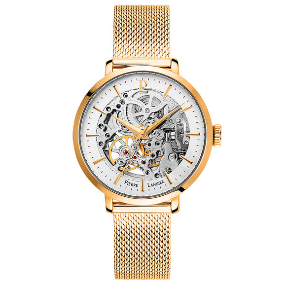 Pierre Lannier Automatic Skeleton Womens Gold White/Gold Mesh 309D528