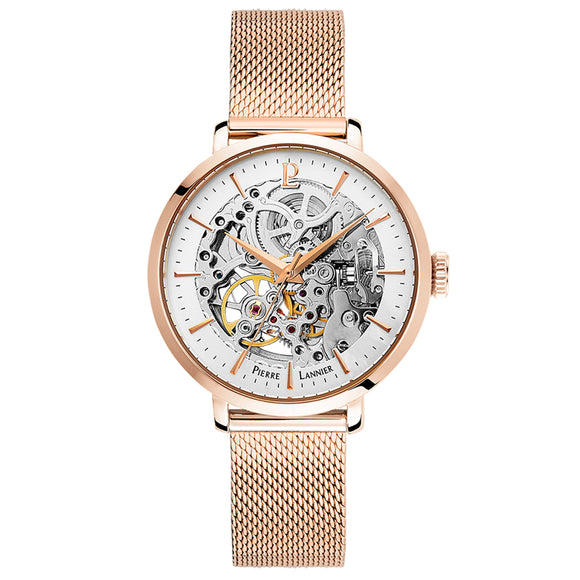 Pierre Lannier Automatic Skeleton Womens Rose Gold White/Rose Gold Mesh 309D928