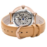 Pierre Lannier Automatic Skeleton Womens Rose Gold White/Tan Leather 309D929