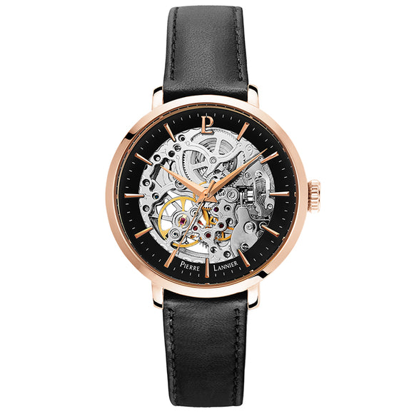 Pierre Lannier Automatic Skeleton Womens Rose Gold Black/Rose Gold Leather 309D933
