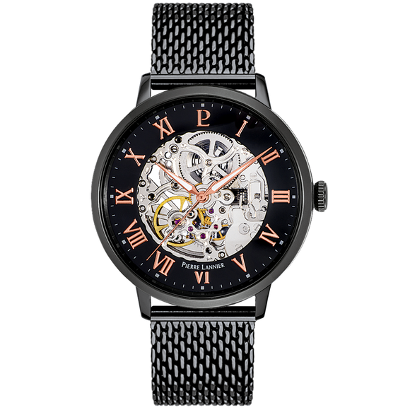 Pierre Lannier Automatic Skeleton Mens Black/Black Mesh 326B438