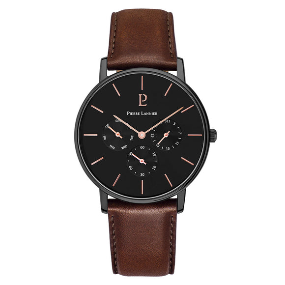Pierre Lannier Cityline Chronograph Black Black/Brown Leather 209F434