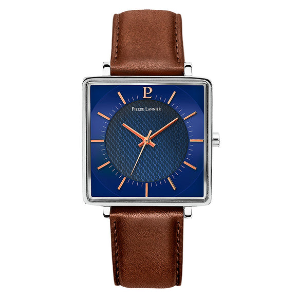 Pierre Lannier Lecare Silver Blue/Brown Leather 210F164