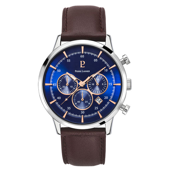 Pierre Lannier Capital Chronograph Silver Blue/Brown Leather 224G169