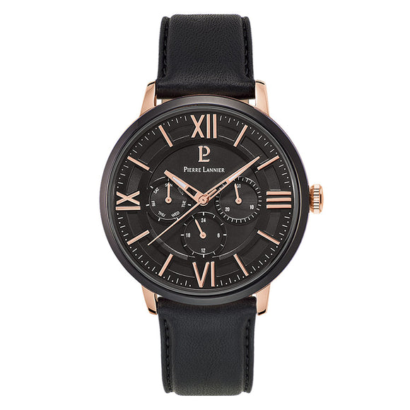 Pierre Lannier Beaucour Black Rose Gold/Black Leather 254C433