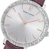 Pierre Lannier Crystal Bezel Silver/Purple Leather 022G629