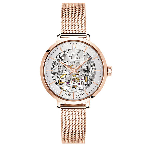 Pierre Lannier Automatic Skeleton Womens Rose Gold Silver/Rose Gold Mesh 313B928