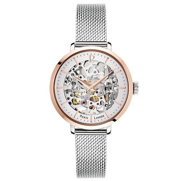 Pierre Lannier Automatic Skeleton Womens Rose Gold Silver/Silver Mesh 312B628
