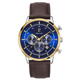 Pierre Lannier Capital Chronograph Gold Blue/Brown Leather 224G264