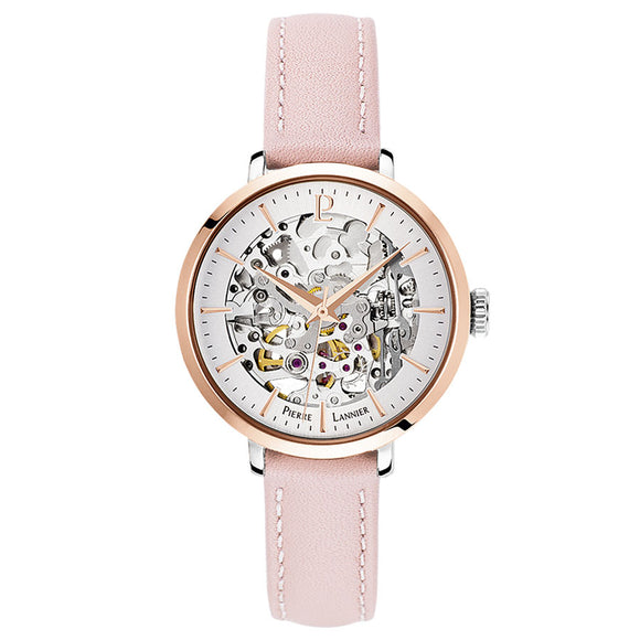Pierre Lannier Automatic Skeleton Womens Rose Gold Silver/Rose Leather 312B625