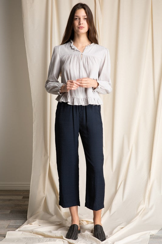 womens trousers, casual pants, ankle pants, navy pants