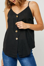 linen top, black tank, button down tank, spaghetti strap