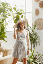 striped dress, striped dress with buttons, dress with cutout, summer dress