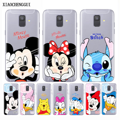 Phone Case For Samsung Galaxy A6 2018 Cases Mickey Minnie soft Silicone Cover Case For Samsung S7