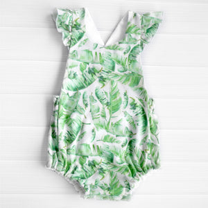 Tropical Leaves Flutter Romper