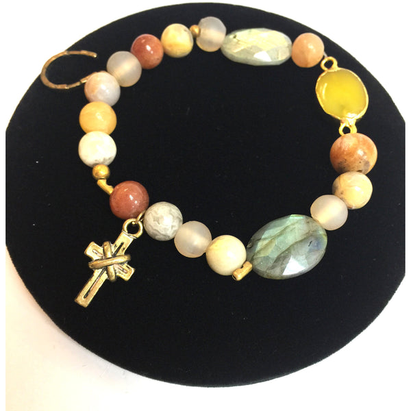 Colorful Crystal Cross Bracelet