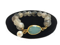 Rock Crystal with Blue Stone Bracelet