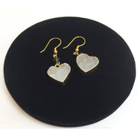 Heart Shape White Mineral Stone Earrings