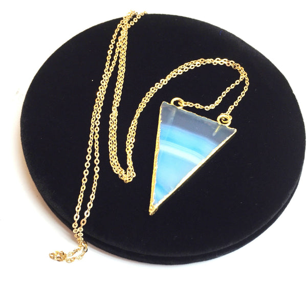 Transparent Triangle Blue Crystal Necklace