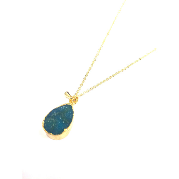 Water Droplet Blue Mineral Stone Necklace