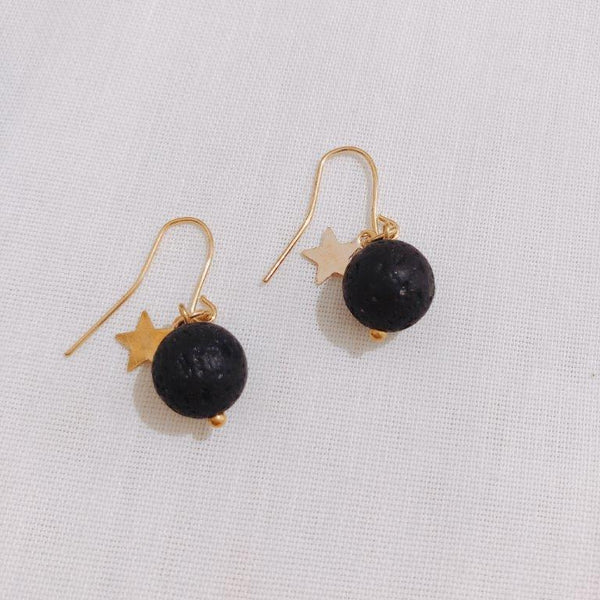 Lava Stone Earring - Lava Stone Silver Golden Plated Star