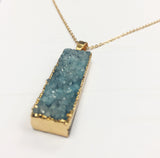 Rectangle Blue Mineral Stone Necklace