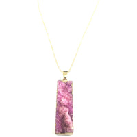 Rectangle Rose Mineral Stone Necklace