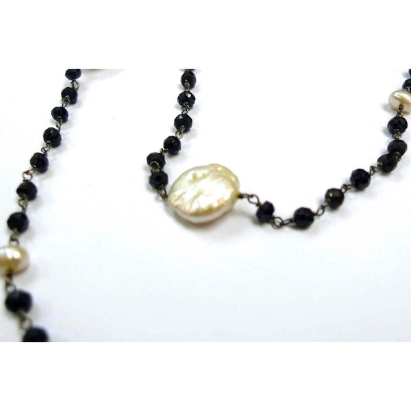Black Spinel Knotting Chain Necklace