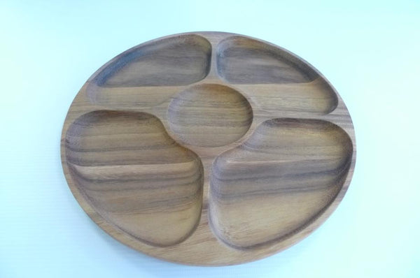 Round Wooden Serving Tray #02