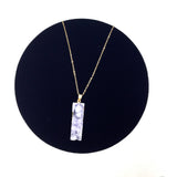 Rectangle Purple Stone Mineral Necklace