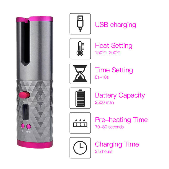 Cordless Automatic Hair Curler Iron USB Rechargeable