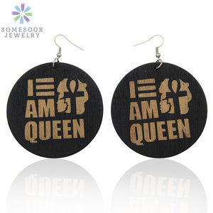 Engraving Afro Wood Drop Earrings