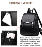Vintage Double Zipper PU Leather Backpack