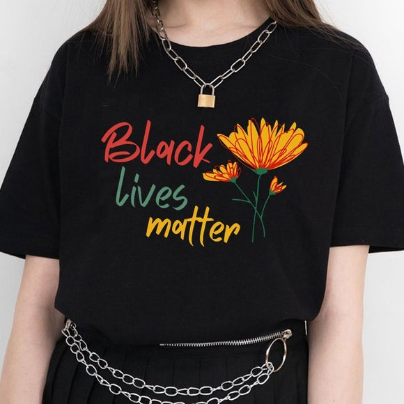 Black Lives Matter Flower Printed T-Shirt