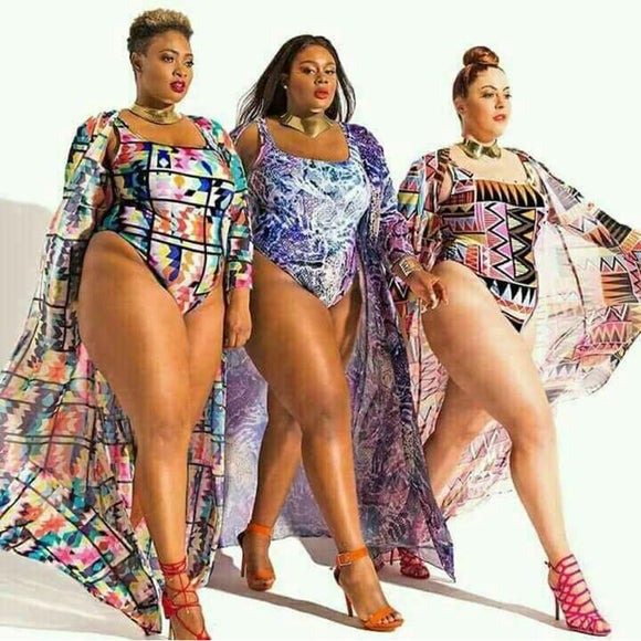 HOT Retro Beach Plus Size One-Piece Swimsuit