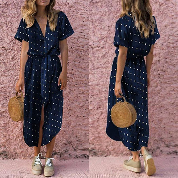 Sexy Casual Daily Bow Tie V Neck Dot Button Dress