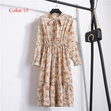 Chiffon Floral Print High Elastic Waist Bow Party Dress **IN 17 COLORS**