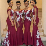 Mermaid Bridesmaid Burgundy Gown - Plus Sizes Available