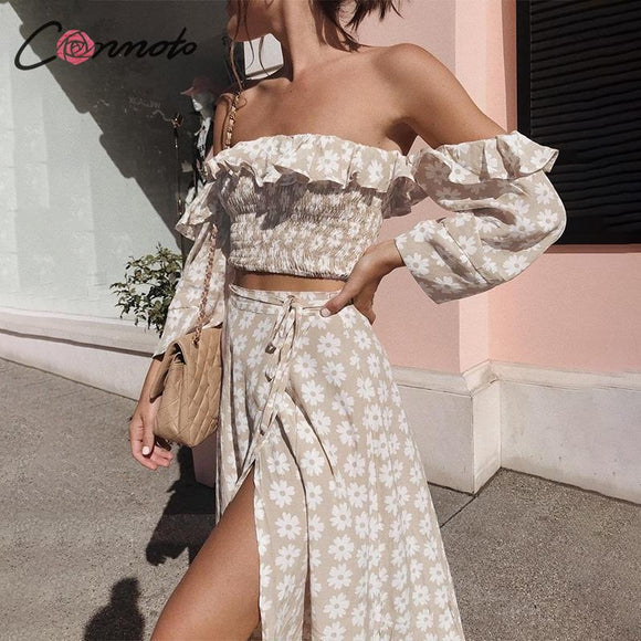 Sexy Floral Print Twist Off Shoulder Dress