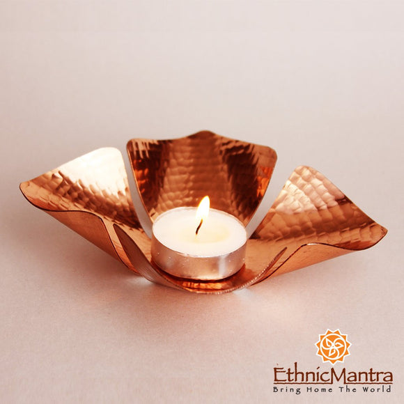 CUPRUM - Four Petaled Tea Light Holder
