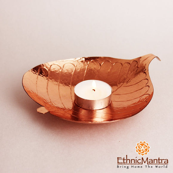 CUPRUM - Leaf Shaped Tea Light Holder