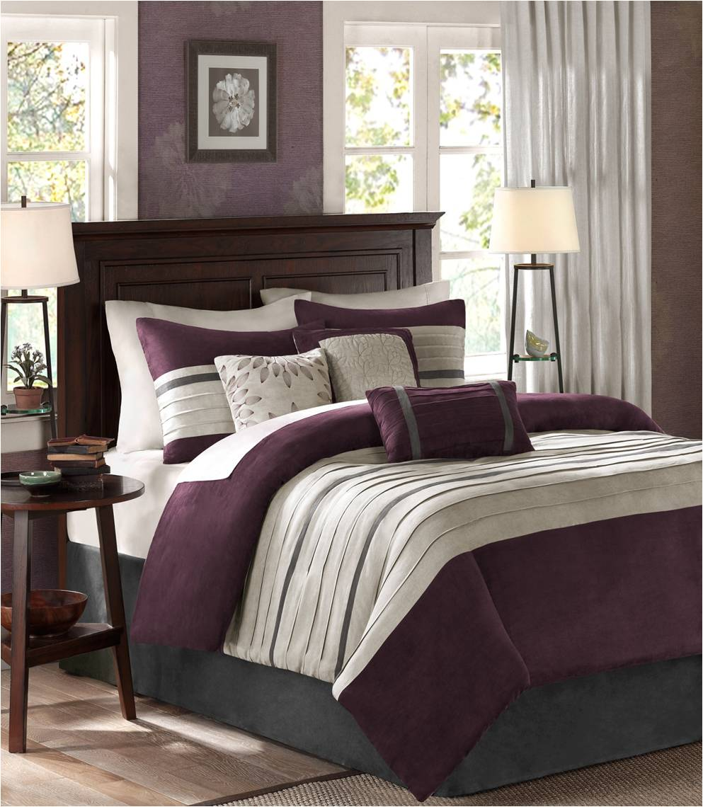Madison Park Palmer Duvet Set Plum - Flogit2us.com