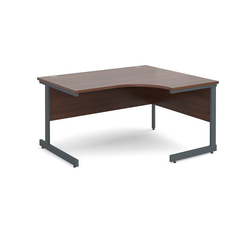 Contract 25 Radial Office Desk Walnut - Flogit2us.com